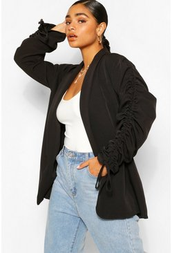 Black Plus Ruched Sleeve Longline Blazer