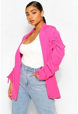 Hot pink pink Plus Ruched Sleeve Longline Blazer