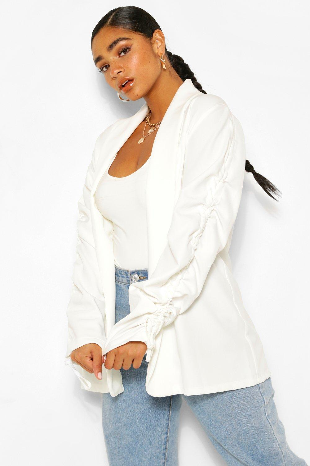 Plus Ruched Sleeve Longline Blazer 16