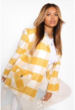 Mustard yellow Plus Oversize Check Coat