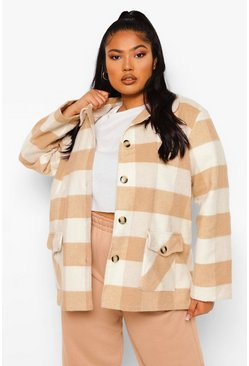 Stone beige Plus Oversize Check Coat