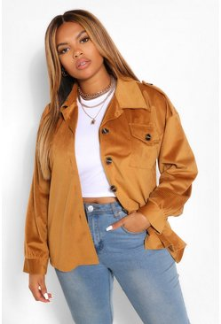 Tan Jumbo Cord Oversized Jacket