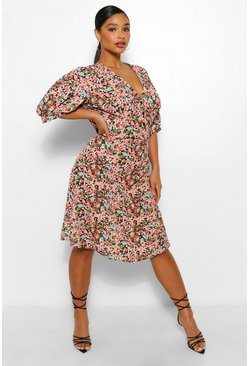 Black Plus Floral Midi Style Tea Dress