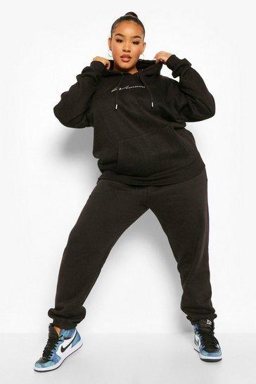 Black Plus Embroidered Woman Script Hoodie