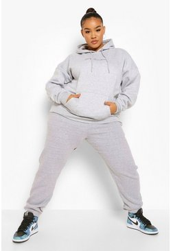 Grey marl grey Plus Embroidered Woman Script Hoody