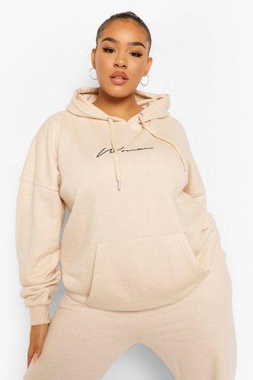 Sand beige Beige Plus Embroidered Woman Script Hoodie