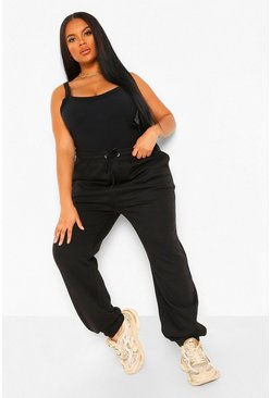 Black Plus Drawstring Rib Waistband And Cuff Jogger
