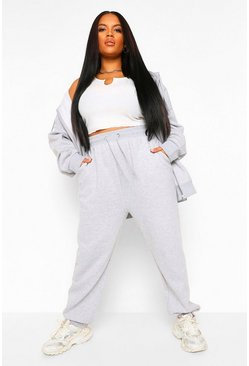 Grey marl grey Plus Drawstring Rib Waistband And Cuff Jogger