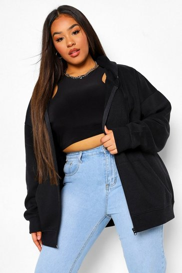 Black Plus Basic Oversized Zip Through Hoodie