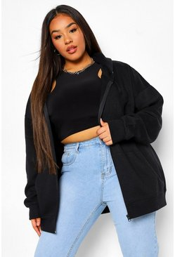 Black Plus Basic Oversized Zip Through Hoody