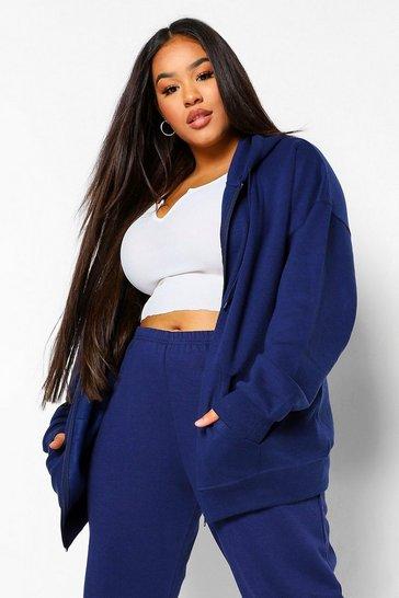 Navy Plus Basic Oversized Zip Through Hoodie