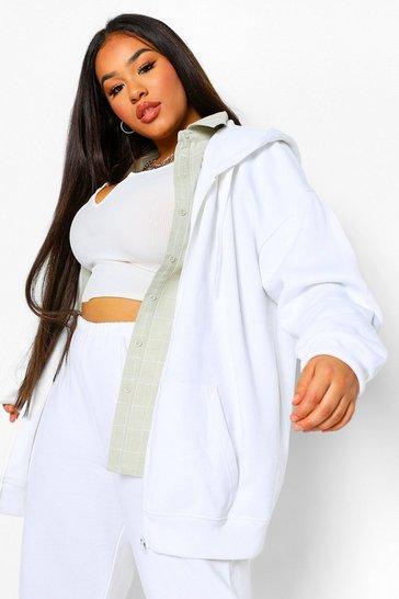 White Plus Basic Oversized Zip Through Hoodie