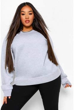 Plus Basic Oversized-Sweatshirt, Grau meliert grau