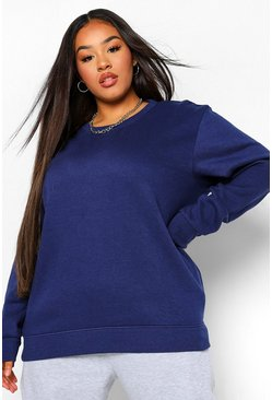 Navy Plus Basic Oversized Sweatshirt