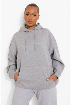 Grey marl grey Plus Basic Oversized Hoody