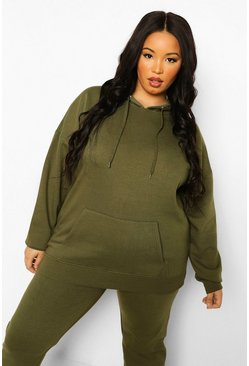 Khaki Plus Basic Oversized Hoody