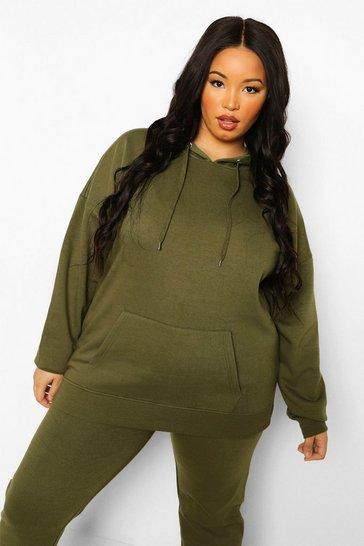 Khaki Green Plus Basic Oversized Hoodie