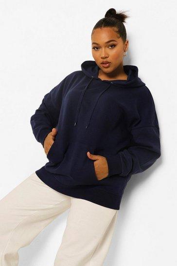 Navy Plus Basic Oversized Hoodie