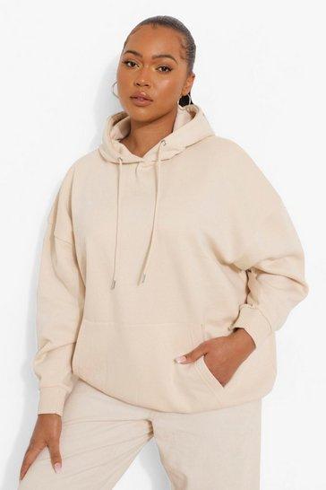 Sand beige Beige Plus Basic Oversized Hoodie