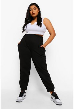 Black Plus Basic Cuffed Hem Jogger