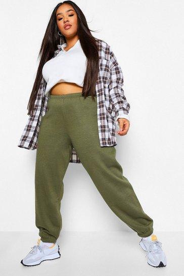 Khaki Green Plus Basic Cuffed Hem Joggers