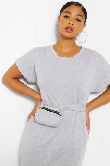 Grey marl Jersey T-Shirt Dress With Body Bag