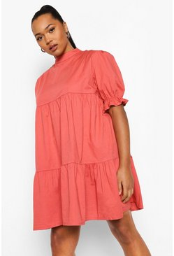Rose pink Plus High Neck Smock Dress