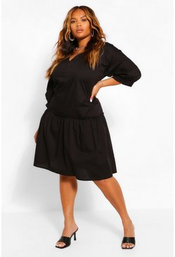 Black Ruffle Hem Smock Midi Dress