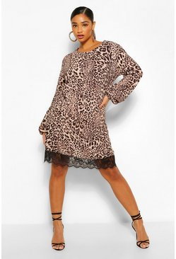 Leopard Lace Trim Shift Dress