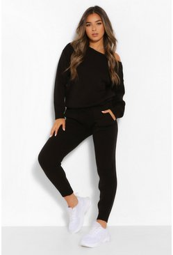 Black Petite Knitted Slash Neck Long Sleeve Co-Ord