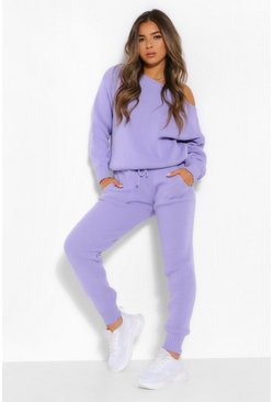 Lilac purple Petite Knitted Slash Neck Long Sleeve Co-Ord