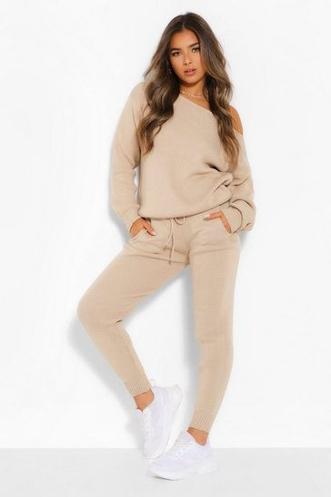 Stone beige Petite Knitted Slash Neck Long Sleeve Co-Ord