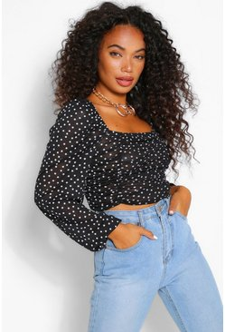 Black Petite Spot Long Sleeved Ruched Front Crop Top