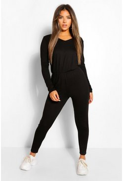 Black Petite Long Sleeve Basic Jumpsuit