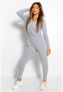 Grey marl grey Petite Long Sleeve Basic Jumpsuit