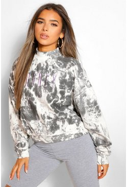 Black Petite Tie Dye 'Honey' Slogan Embroidered Sweat