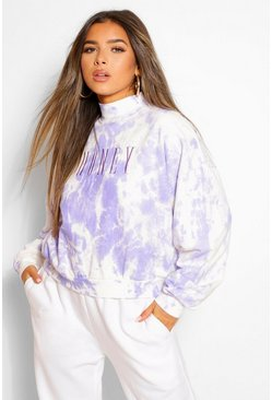 Lilac purple Petite Tie Dye 'Honey' Slogan Embroidered Sweat