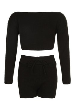 Black Petite Knitted Slash Neck Short Co-Ord