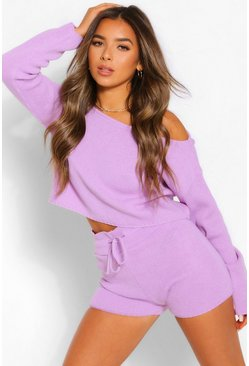 Lilac purple Petite Knitted Slash Neck Short Co-Ord