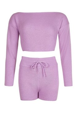 Lilac Petite Knitted Slash Neck Short Co-Ord