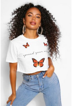 White Petite Butterfly Crop T-Shirt