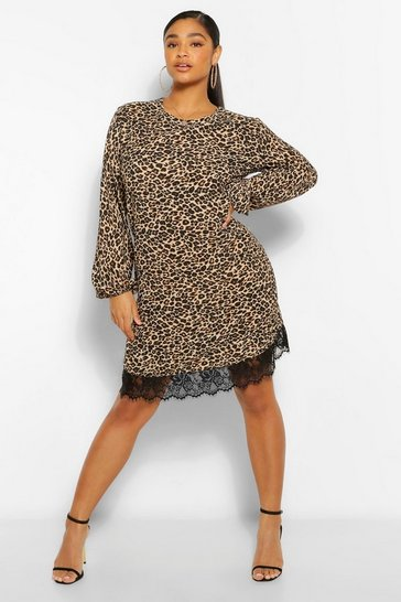 Brown Plus Leopard Lace Trim Shift Dress