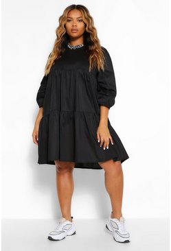 Black Plus Tiered Cotton Smock Dress