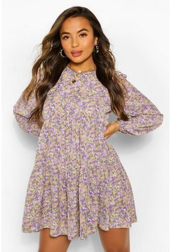 Purple Petite Floral Smock Dress