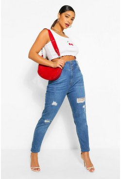 Dark blue blue Plus Highwaist Distressed Shaper Skinny Jean