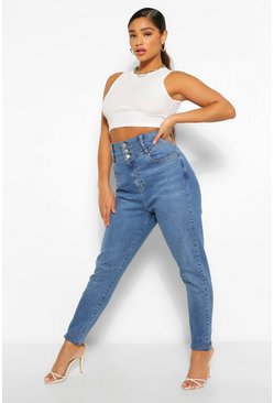 Mid blue blue Plus High Waist Button Front Shaper Skinny Jean