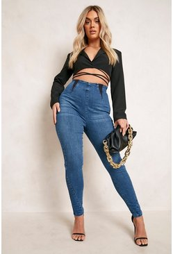 Dark blue blue Plus Elasticated Shaper Jegging