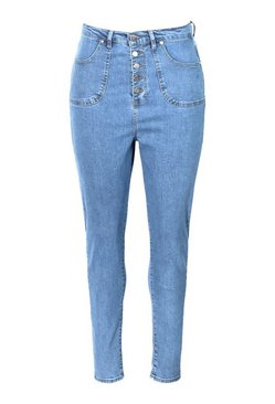 Dark blue Plus Highwaist Button Distressed Skinny Jean