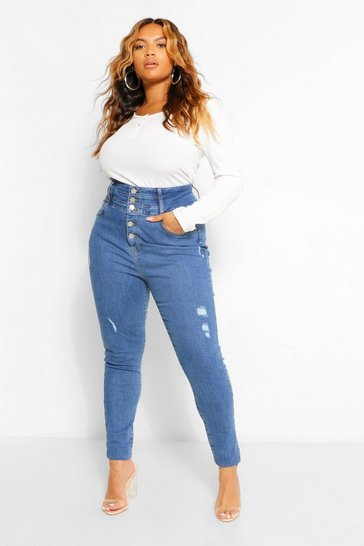 Mid blue blue Plus Button Highwaisted Shaper Skinny Jean