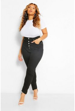 Black Plus Button High Waist Shaper Skinny Jean